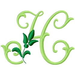 Greenery Monogram Font H embroidery design