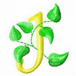 Vine Letter J embroidery design