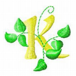 Vine Letter K embroidery design