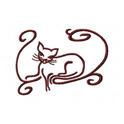 Cat And Swirls 2 embroidery design