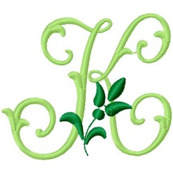 Greenery Monogram Font K embroidery design
