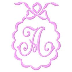 Scalloped Monogram A embroidery design