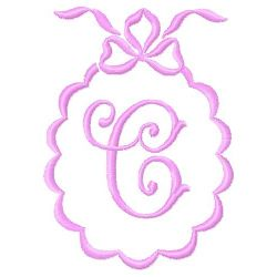 Scalloped Monogram C embroidery design