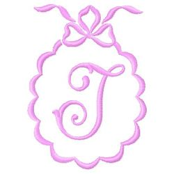 Scalloped Monogram J embroidery design