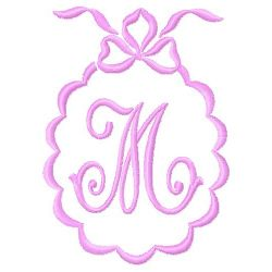 Scalloped Monogram M embroidery design