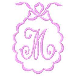 Scalloped Monogram M embroidery design
