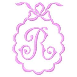 Scalloped Monogram R embroidery design