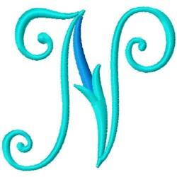 Blue Monogram Font N embroidery design