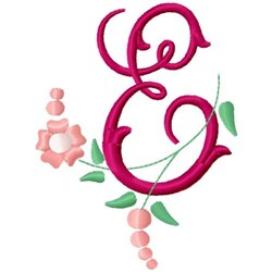 Floral Monogram Letter E embroidery design