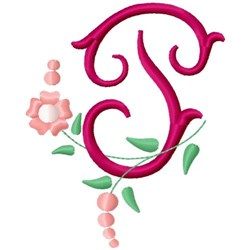 Floral Monogram Letter P embroidery design