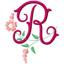 Floral Monogram Letter R embroidery design