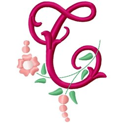 Floral Monogram Letter T embroidery design