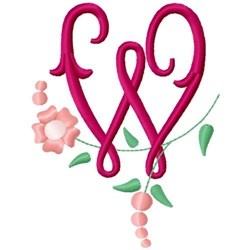Floral Monogram Letter W embroidery design