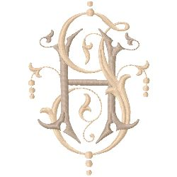 HJ Monogram embroidery design