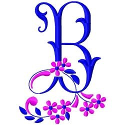 Floral MonogramB embroidery design