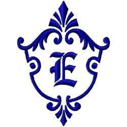 Monogram Crest E embroidery design