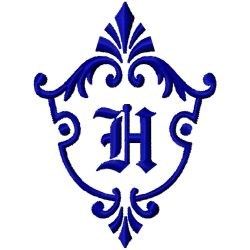 Monogram Crest H embroidery design