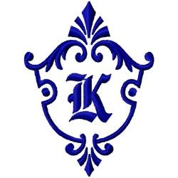 Monogram Crest K embroidery design