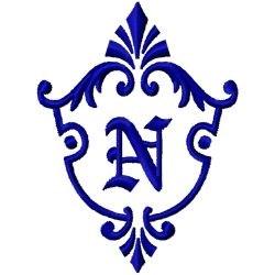 Monogram Crest N embroidery design