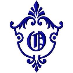 Monogram Crest O embroidery design