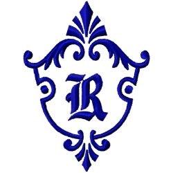 Monogram Crest R embroidery design
