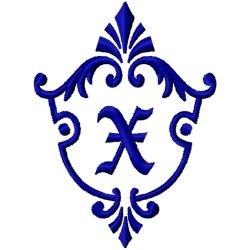 Monogram Crest X embroidery design