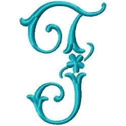 Elegant Monogram F embroidery design