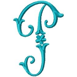 Elegant Monogram P embroidery design