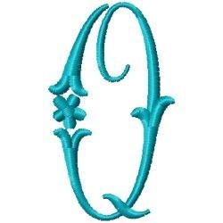 Elegant Monogram Q embroidery design