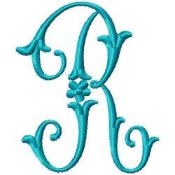 Elegant Monogram R embroidery design