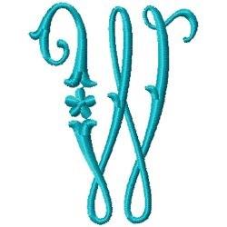 Elegant Monogram W embroidery design