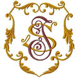 I S Monogram embroidery design