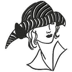 Art Deco Striped Hat embroidery design