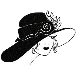 Art Deco Wide Rimmed Hat embroidery design