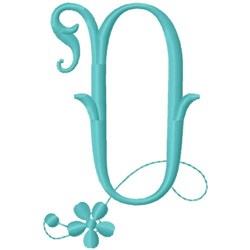 Floral Monogram Font O embroidery design
