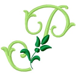 Greenery Monogram Font P embroidery design