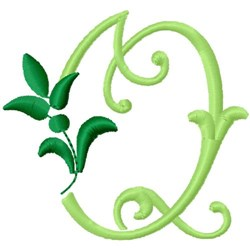 Greenery Monogram Font Q embroidery design