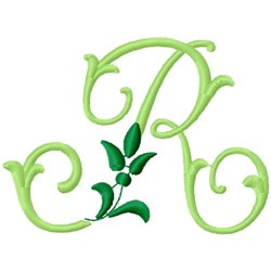Greenery Monogram Font R embroidery design