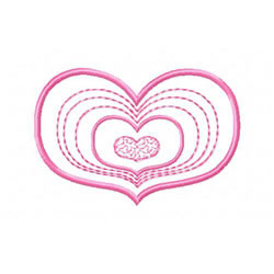 Concentric Hearts embroidery design
