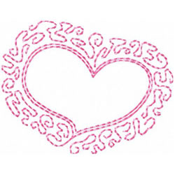 Heart With Filigree Border embroidery design