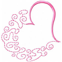 Half Heart embroidery design