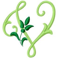 Greenery Monogram Font V embroidery design