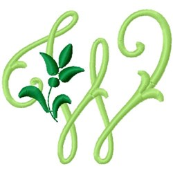 Greenery Monogram Font W embroidery design