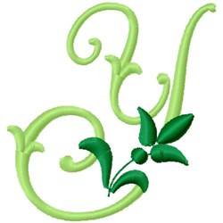 Greenery Monogram Font Y embroidery design