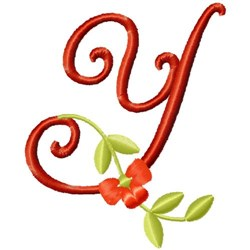 Floral Monogram Font Y embroidery design
