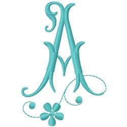 Floral Monogram Font A embroidery design