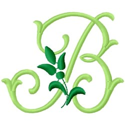 Greenery Monogram Font B embroidery design