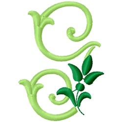 Greenery Monogram Font G embroidery design