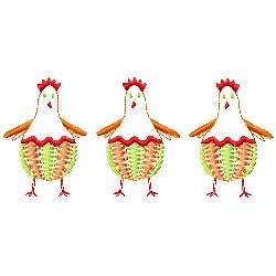 Trio of Chickens embroidery design
