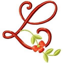 Floral Monogram Font L embroidery design